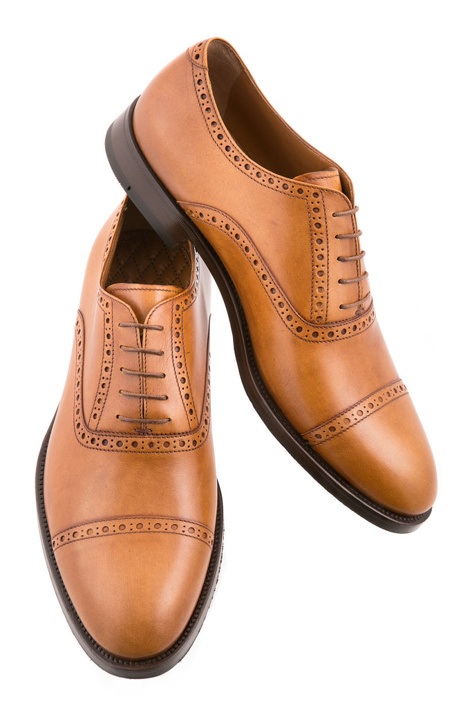 Tan Giovanni Leather Brogue Cap-Toe Oxfords