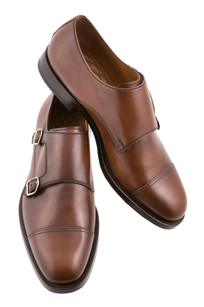 Dark Brown Gilberto Leather Cap-Toe Monk Strap