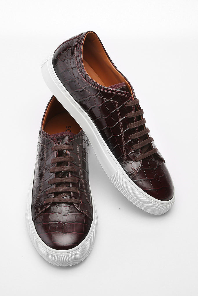 Dark Brown Faux Croc Bruno Low Top Leather Sneaker