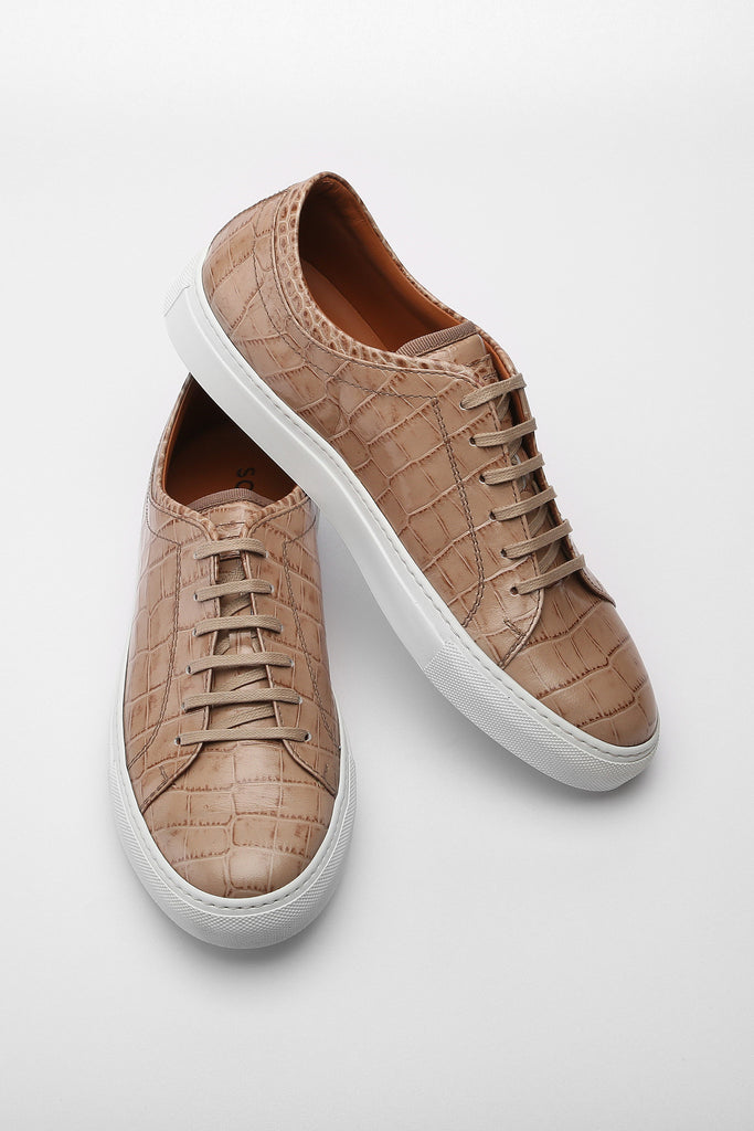 Beige Faux Croc Bruno Low Top Leather Sneaker