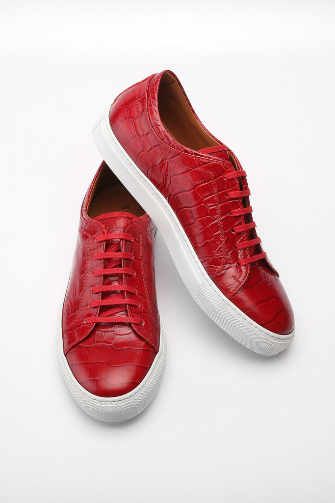 Red Faux Croc Bruno Low Top Leather Sneaker