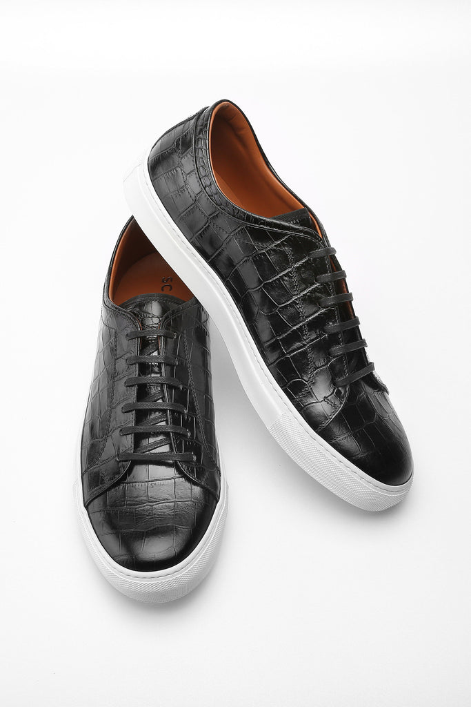 Black Faux Croc Bruno Low Top Leather Sneaker