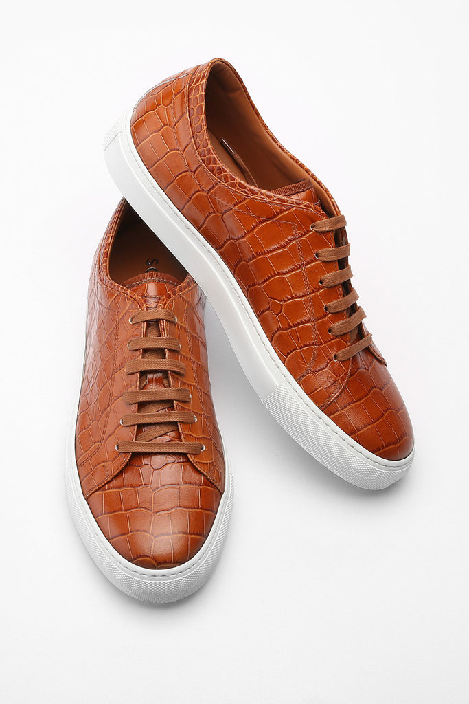Tan Faux Croc Bruno Low Top Leather Sneaker