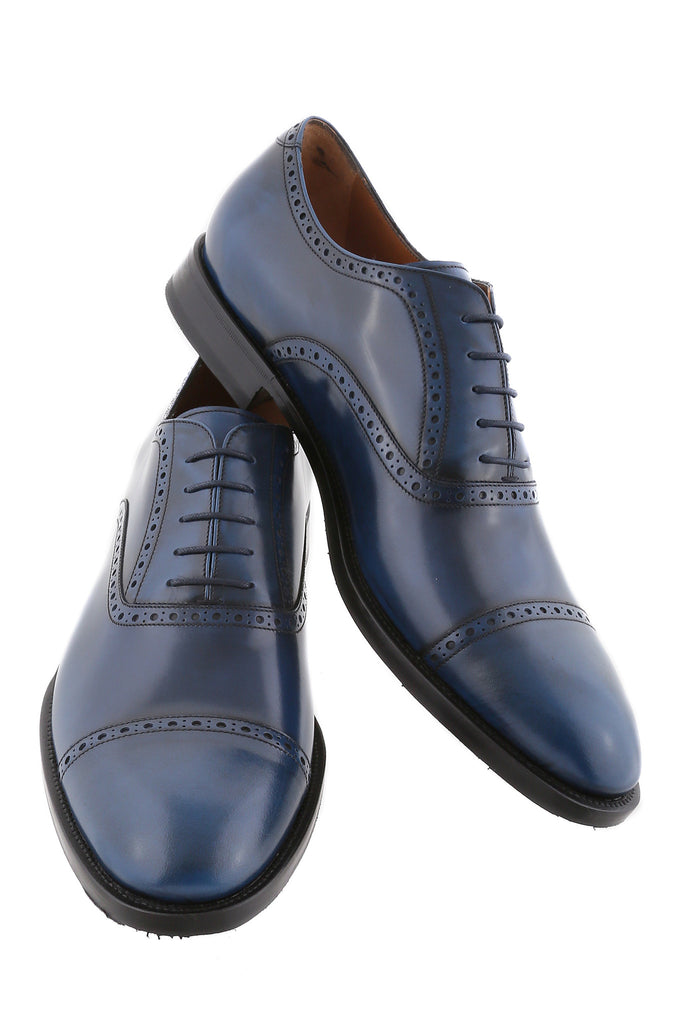 Navy Blue Giovanni Leather Brogue Cap-Toe Oxfords