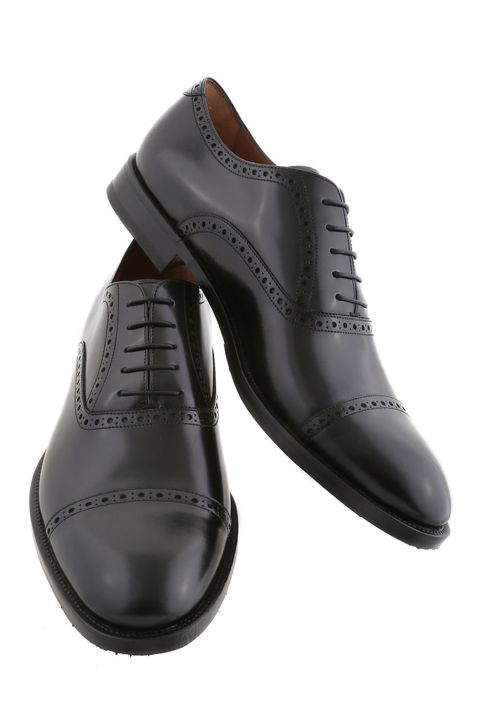 Black Giovanni Leather Brogue Cap-Toe Oxfords