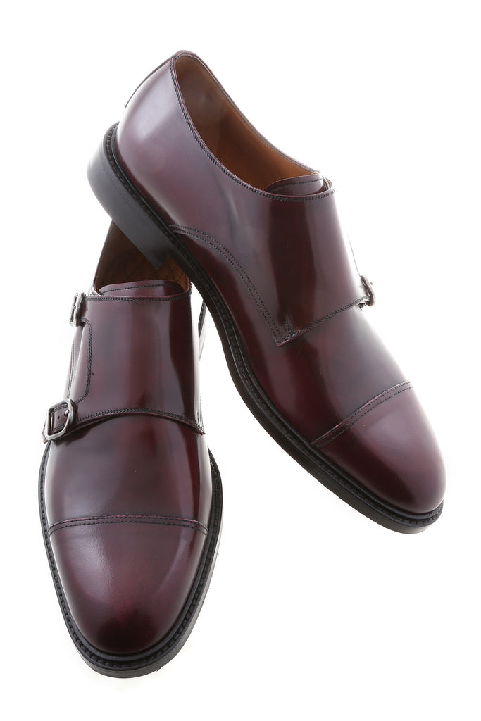 Bordeaux Gilberto Leather Cap-Toe Monk Strap
