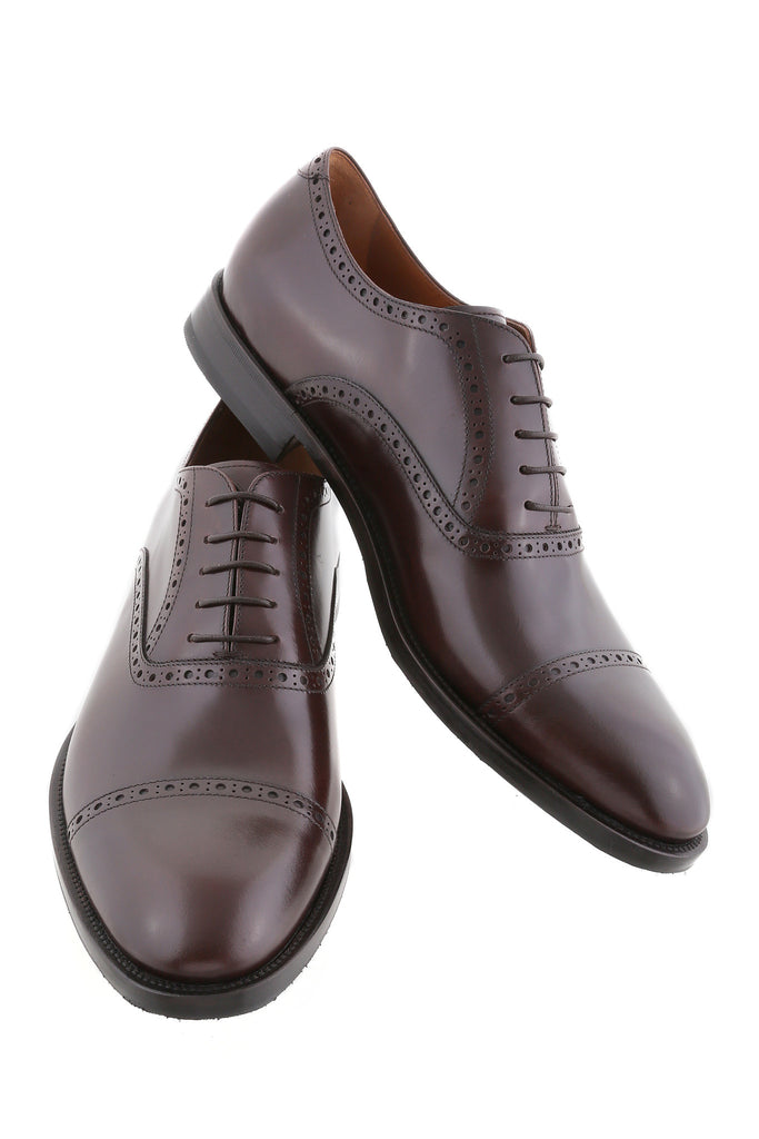 Dark Brown Giovanni Leather Brogue Cap-Toe Oxfords