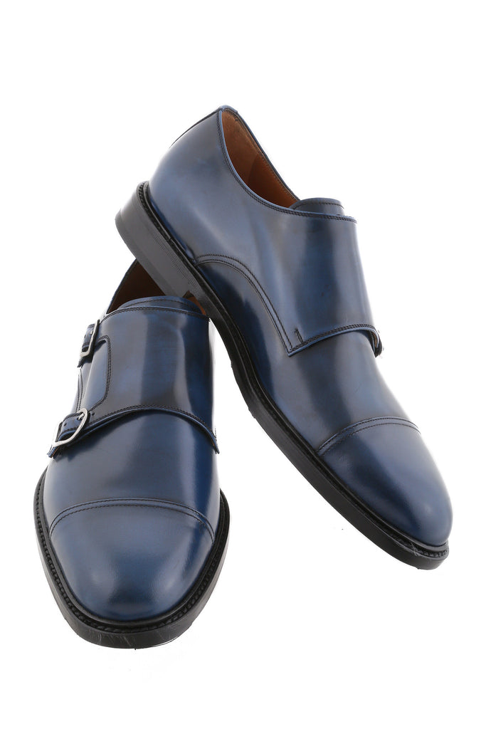 Navy Blue Gilberto Leather Cap-Toe Monk Strap