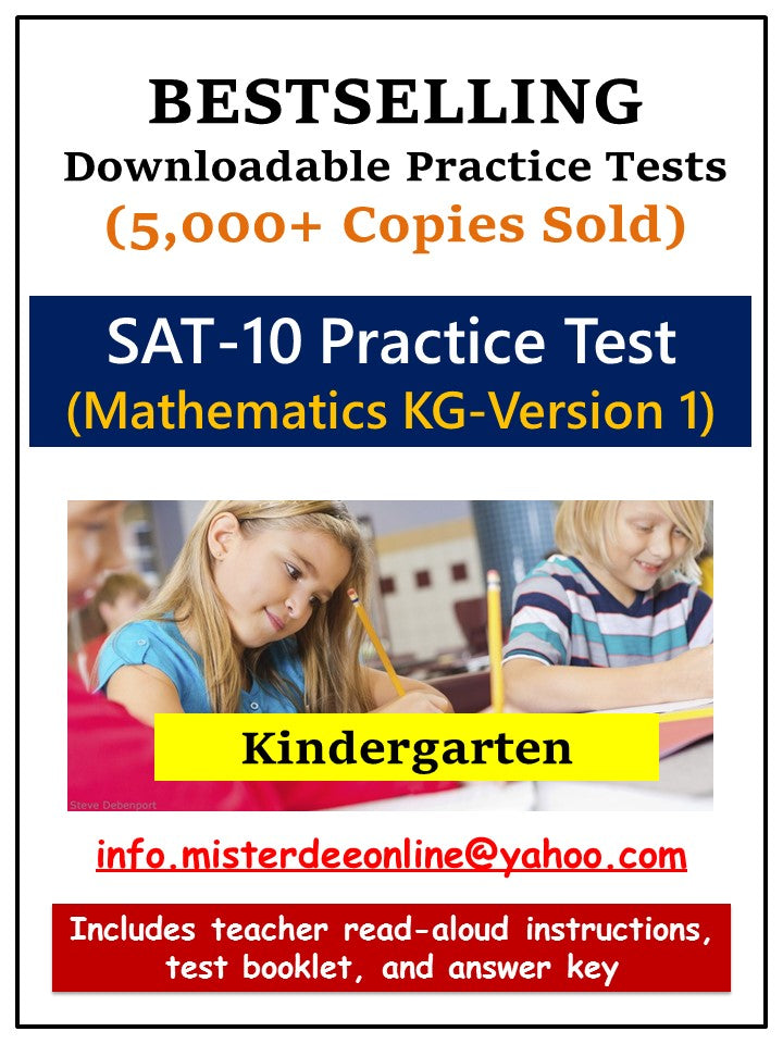 BUNDLE: Test/Assessment Resources for Kindergarten (Mathematics-Versions 1 and 2, Reading-Versions 1 and 2, Language, and Environment)