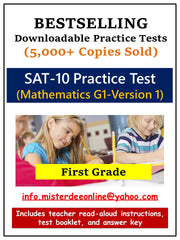 BUNDLE: Test/Assessment Resources for First Grade (Mathematics-Versions 1 and 2, Reading-Versions 1 and 2, Language, and Environment)