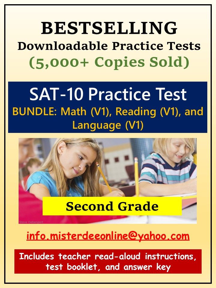 BUNDLE: Test/Assessment Resources for Second Grade (Mathematics, Reading, and Language)