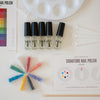 Mixify Beauty DIY nailpolish kit components, uncolored bottles, micas, pallette, color chart, how to