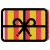 Graphic of gift card with red and yellow stripes, tied with a black ribbon