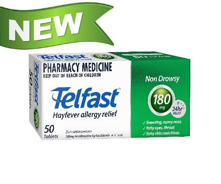 Telfast Hayfever Relief 180mg 50 Tablets