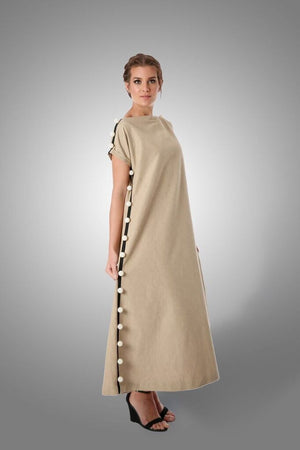 Beige linen dress with side pearls