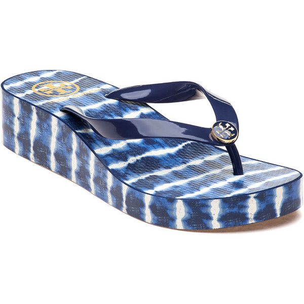 9301e7771 TORY BURCH CLASSIC WEDGE FLIP FLOP (Navy Sea   Ziggy) ...