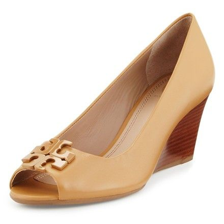 76e4e6eb3ddf TORY BURCH LOWELL 2 65MM PEEP TOE WEDGE (BLOND) ...