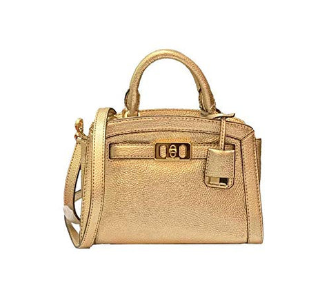 34a9f4abc3f5 MICHAEL KORS KARSON PEBBLED LEATHER EXTRA SMALL BAG - PALE GOLD