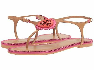 a44529ce16bd TORY BURCH MILLER FRINGE FLAT SANDAL (Dusty Cypress   Hibiscus Flower    Samba)