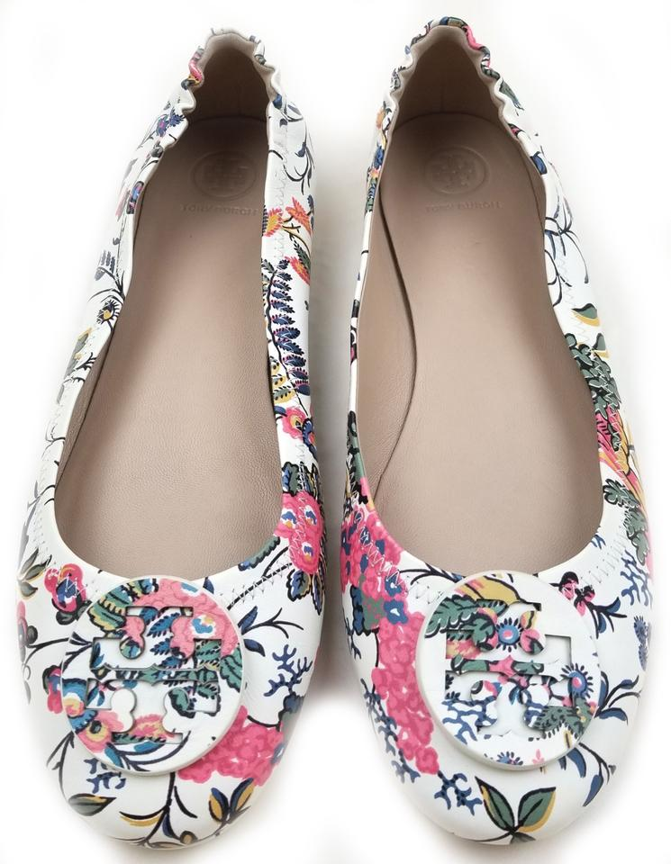 113a9935f2c TORY BURCH MINNIE TRAVEL BALLET WITH LOGO (New Ivory Gabriella Floral) ...