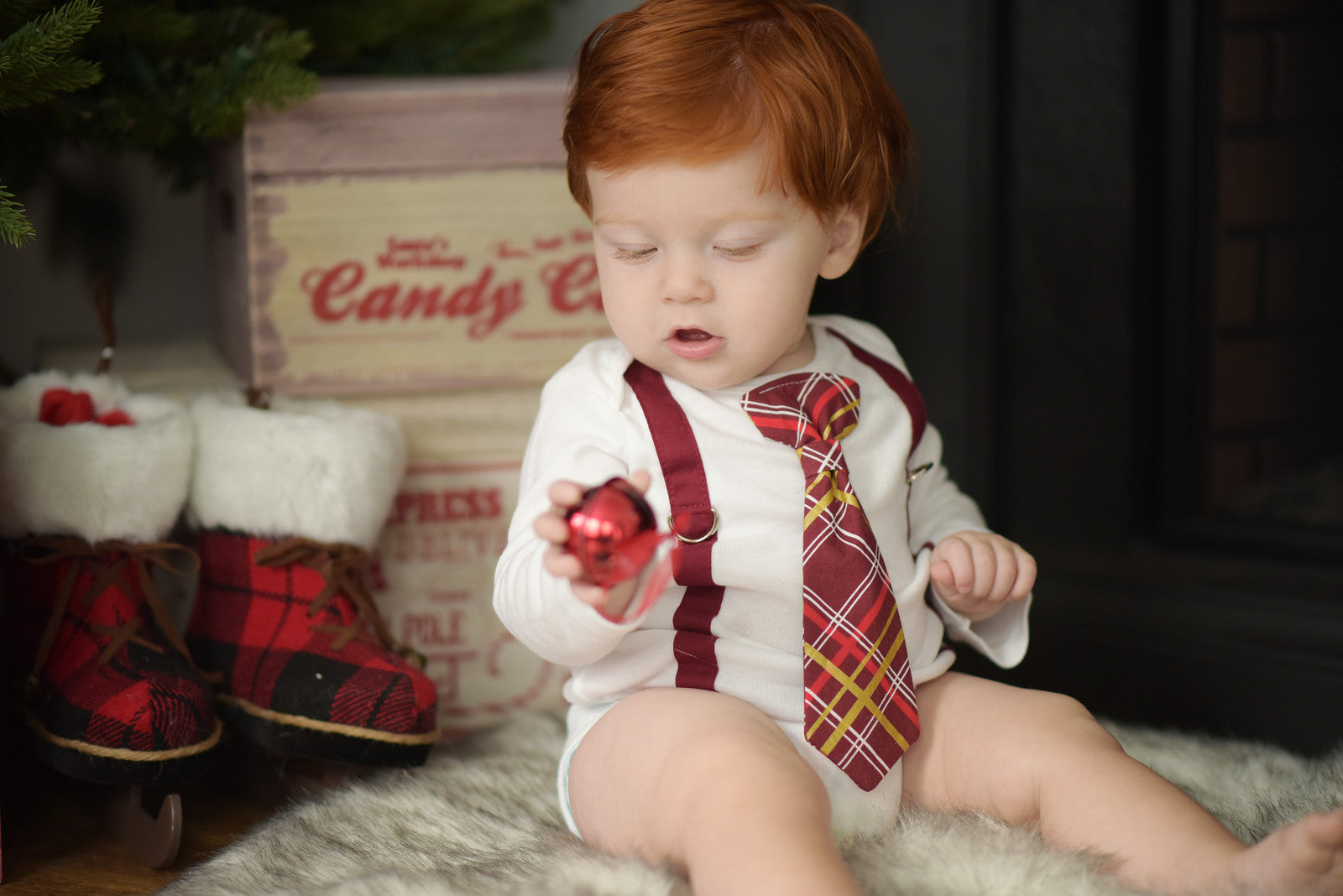 Burgundy Christmas Baby Boy