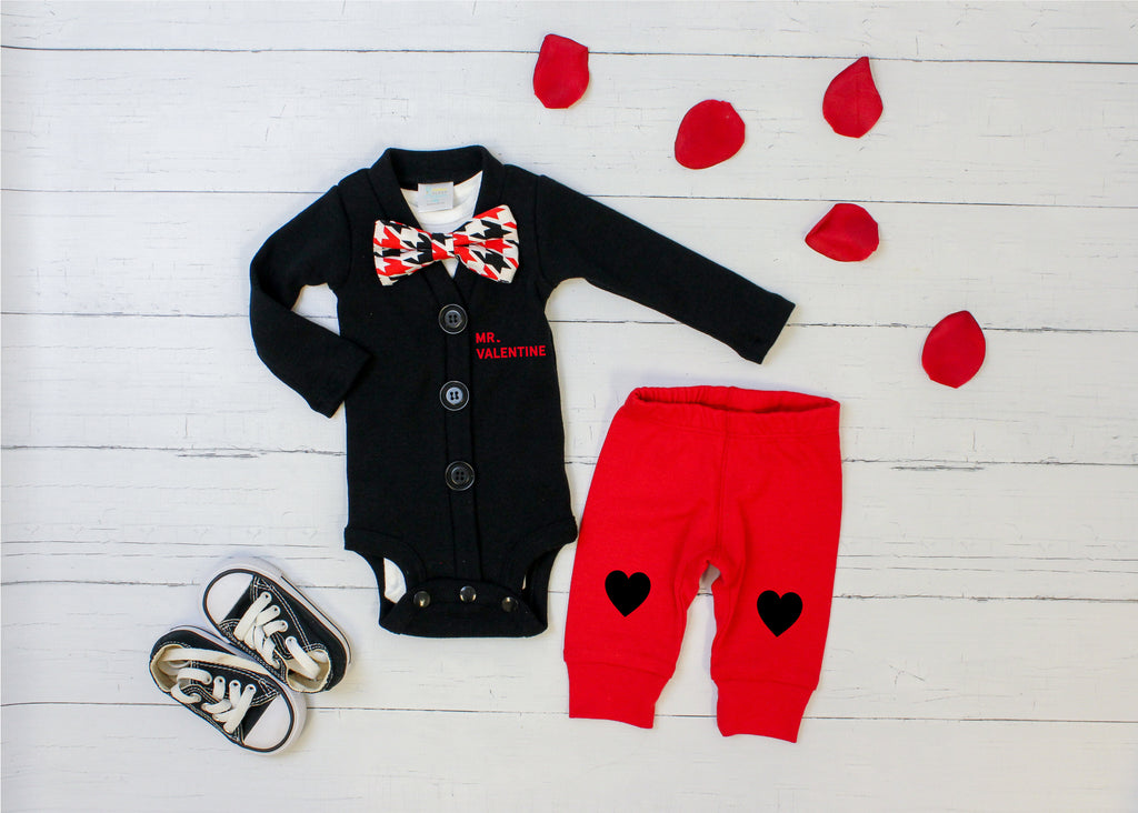 Baby Boy Valentine Outfit - Black Red Houndstooth
