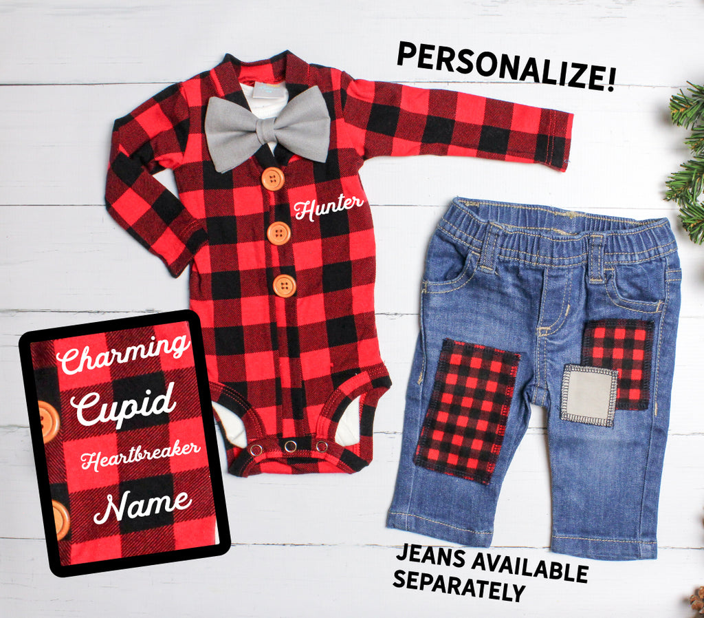 Baby Boy Valentine Outfit - Buffalo Plaid and Jeans