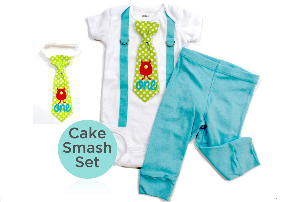 monster cake smash outfit boy