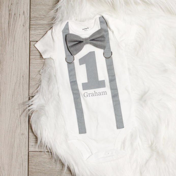 Cuddle Sleep Dream Oh Snap All Gray 1st Birthday Onesie Personalized