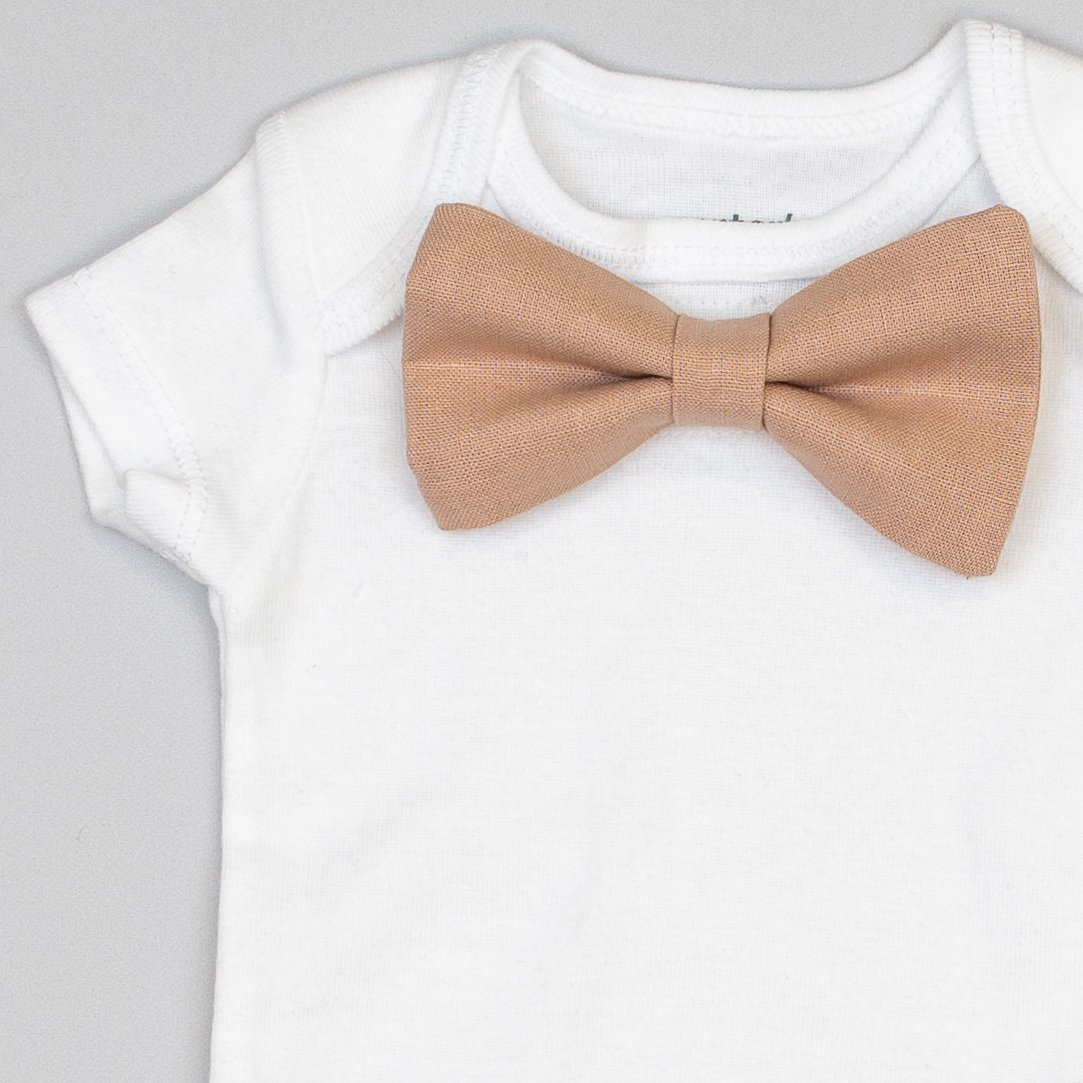 Cuddle Sleep Dream Oh Snap Blush Linen Bowtie Bodysuit