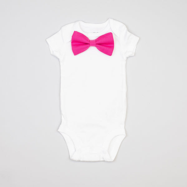 Cuddle Sleep Dream Oh Snap Fuschia Bowtie Onesie