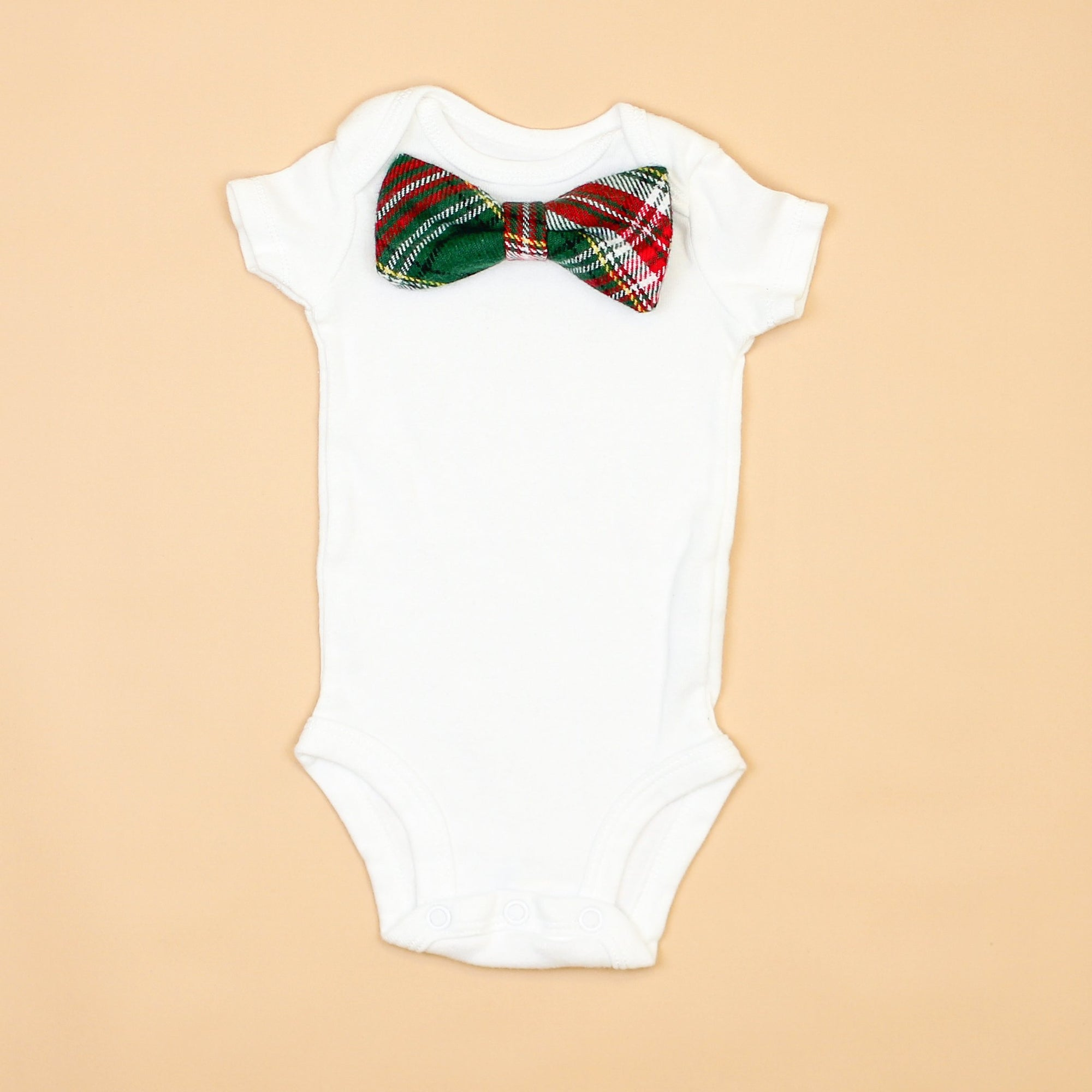 Cuddle Sleep Dream Oh Snap Green/Red Plaid Bowtie Onesie
