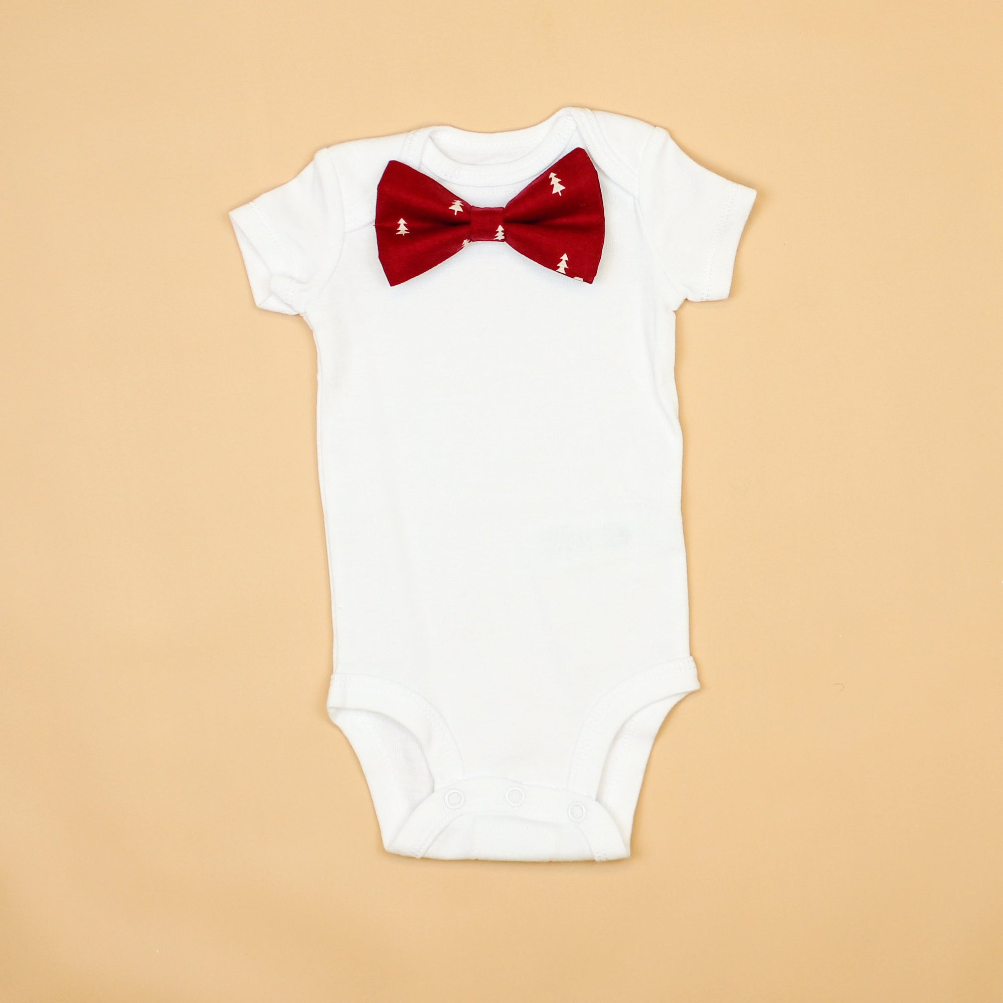 Cuddle Sleep Dream Oh Snap Tiny Trees in Burgundy Bowtie Onesie