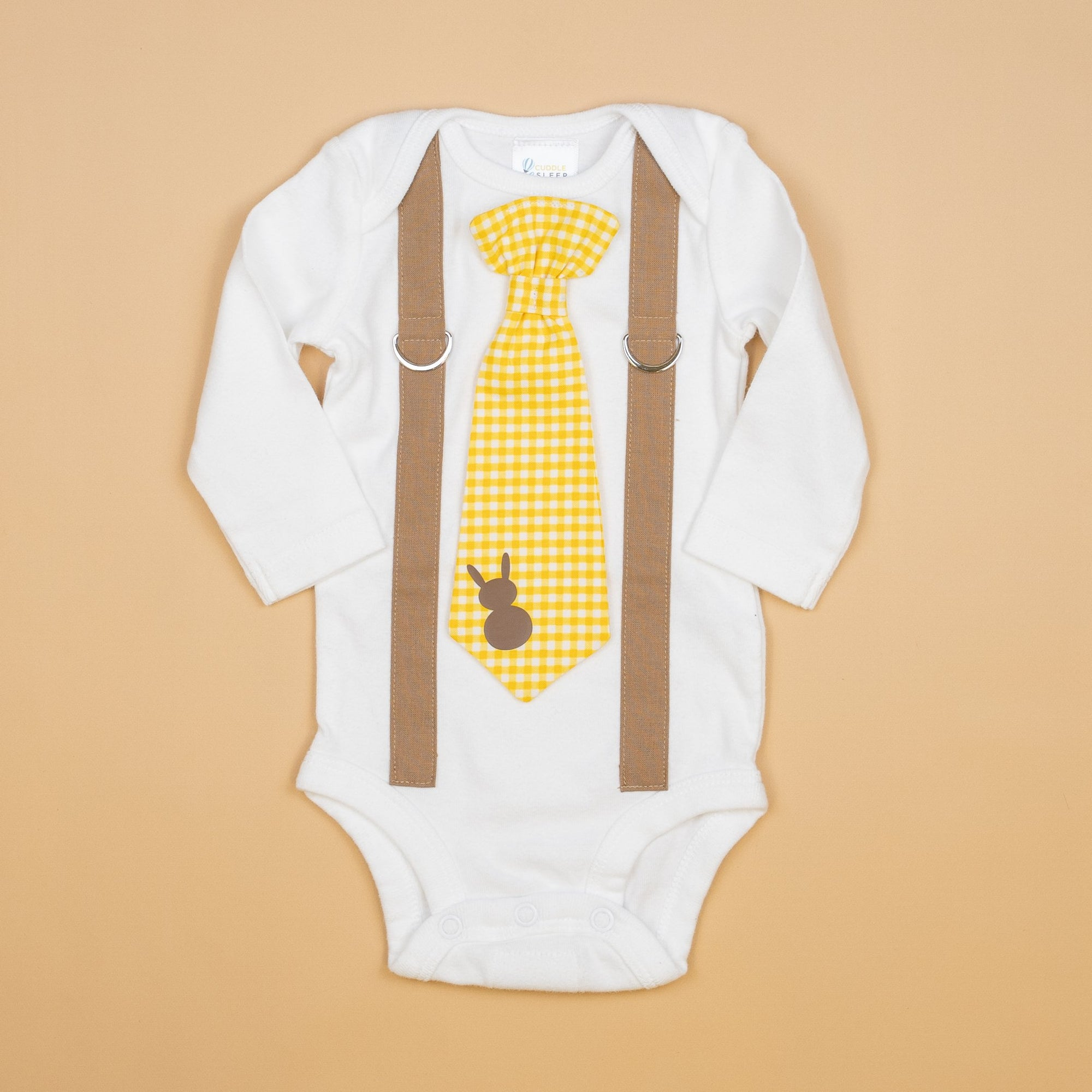 Cuddle Sleep Dream Oh Snap Mocha Suspenders | Yellow Gingham Bunny Tie
