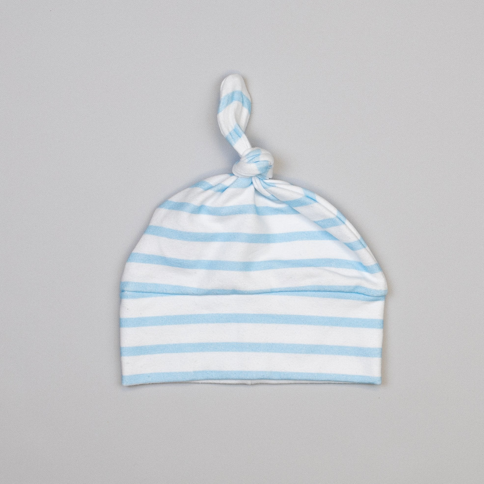 Cuddle Sleep Dream Knot Hat Small (0-3m) Blue/White Stripe French Terry Knot Hat