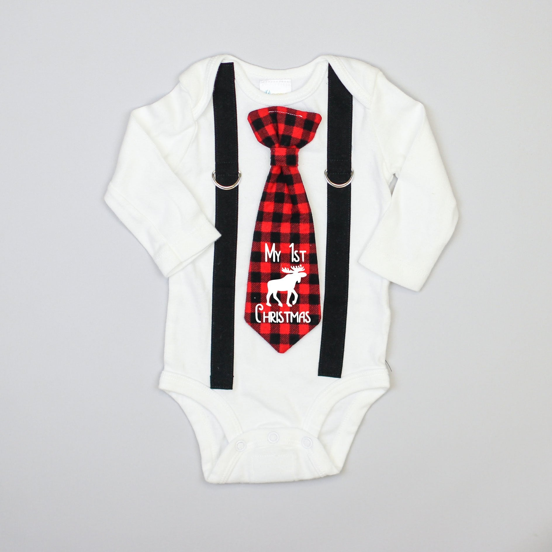 "Cuddle Sleep Dream Oh Snap Black Suspender / Buffalo Plaid ""My 1st Christmas"" Tie"