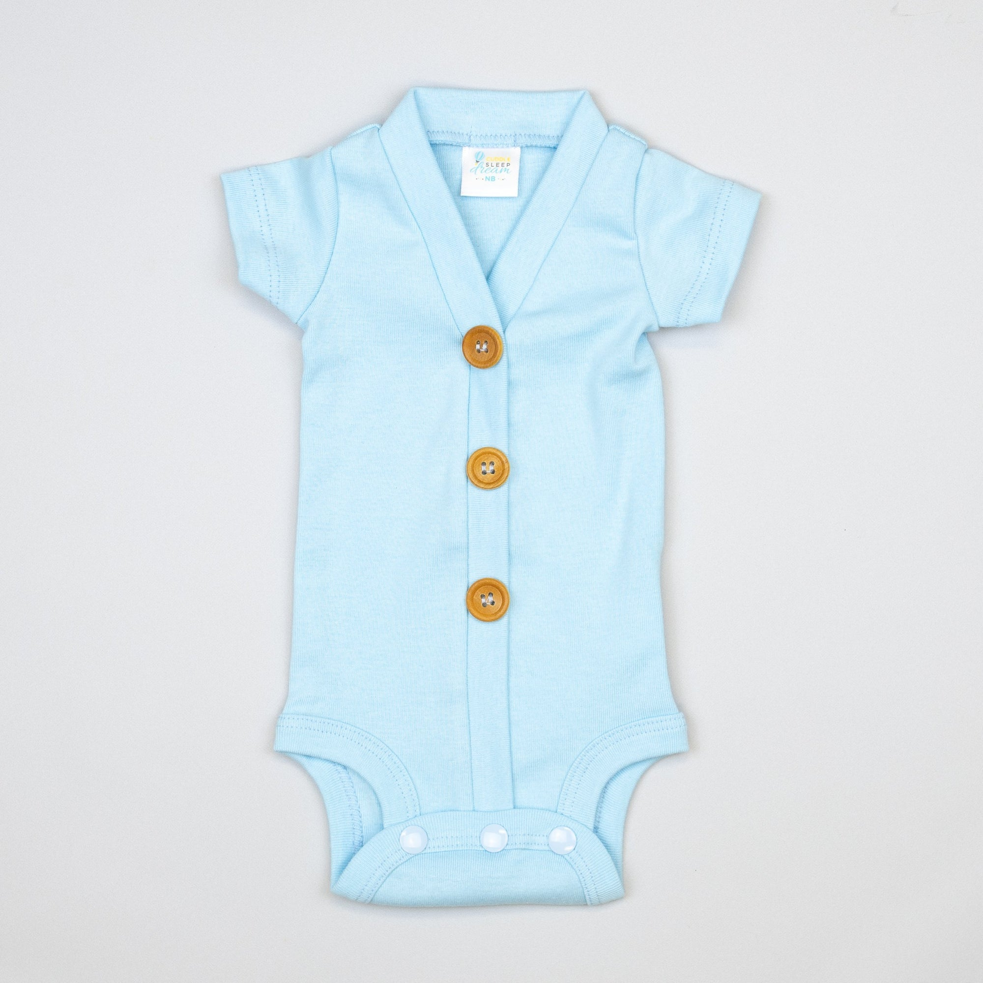 Cuddle Sleep Dream Cardigan Light Blue Cardisuit - Short Sleeve