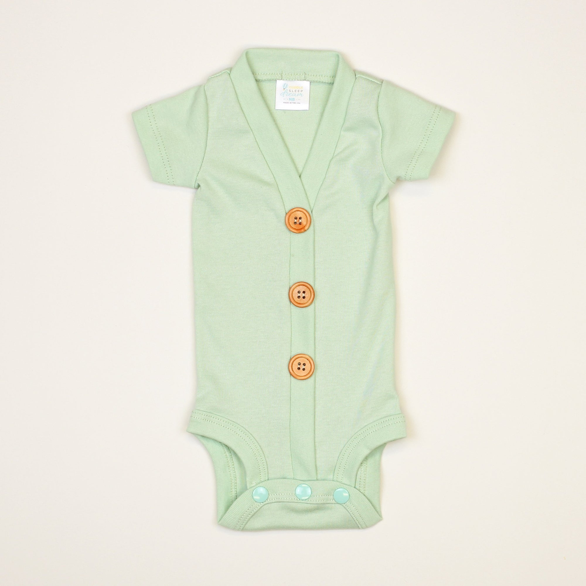Cuddle Sleep Dream Cardigan Mint Cardisuit - Short Sleeve