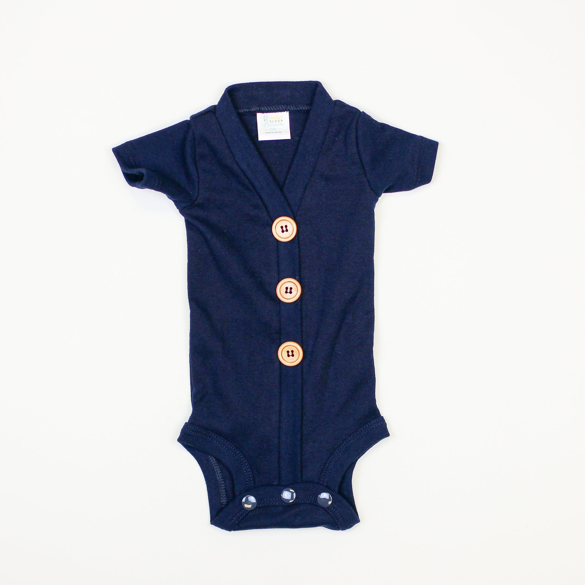 Cuddle Sleep Dream Cardigan Navy Cardisuit - Short Sleeve