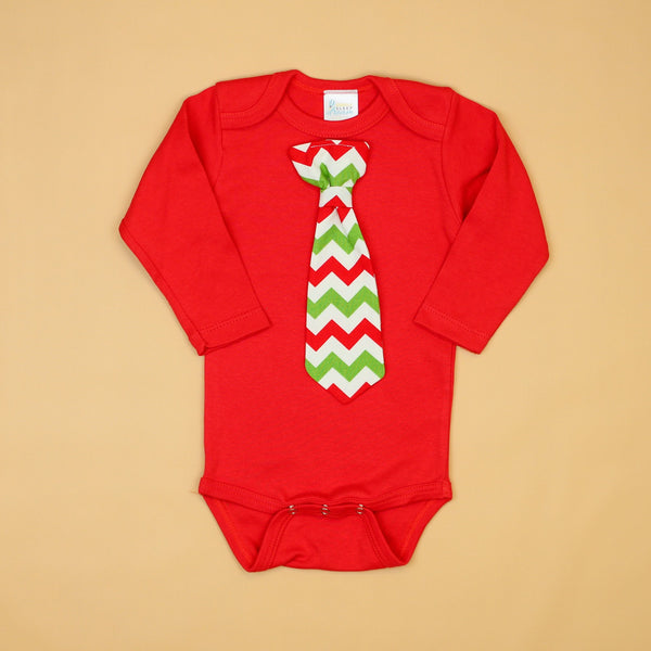 Cuddle Sleep Dream Oh Snap Red Onesie + Christmas Chevron Necktie