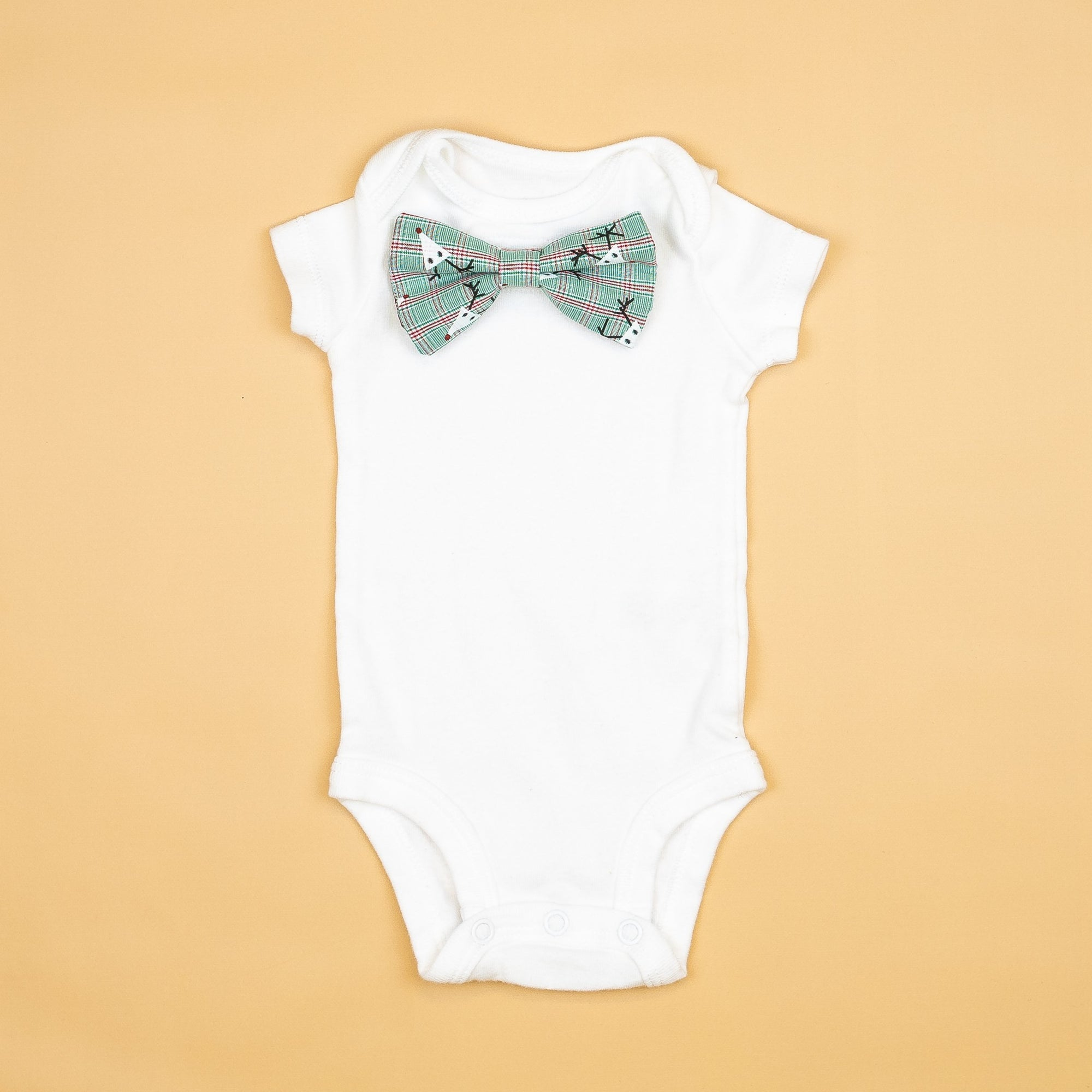 Cuddle Sleep Dream Oh Snap Reindeer Plaid Bowtie Bodysuit
