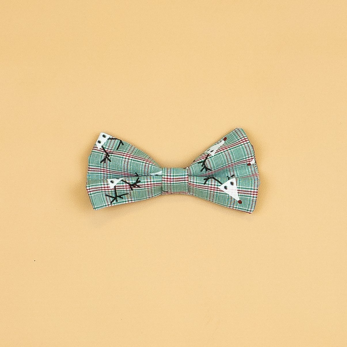 Cuddle Sleep Dream Ties Reindeer Plaid Snap-On Bowtie
