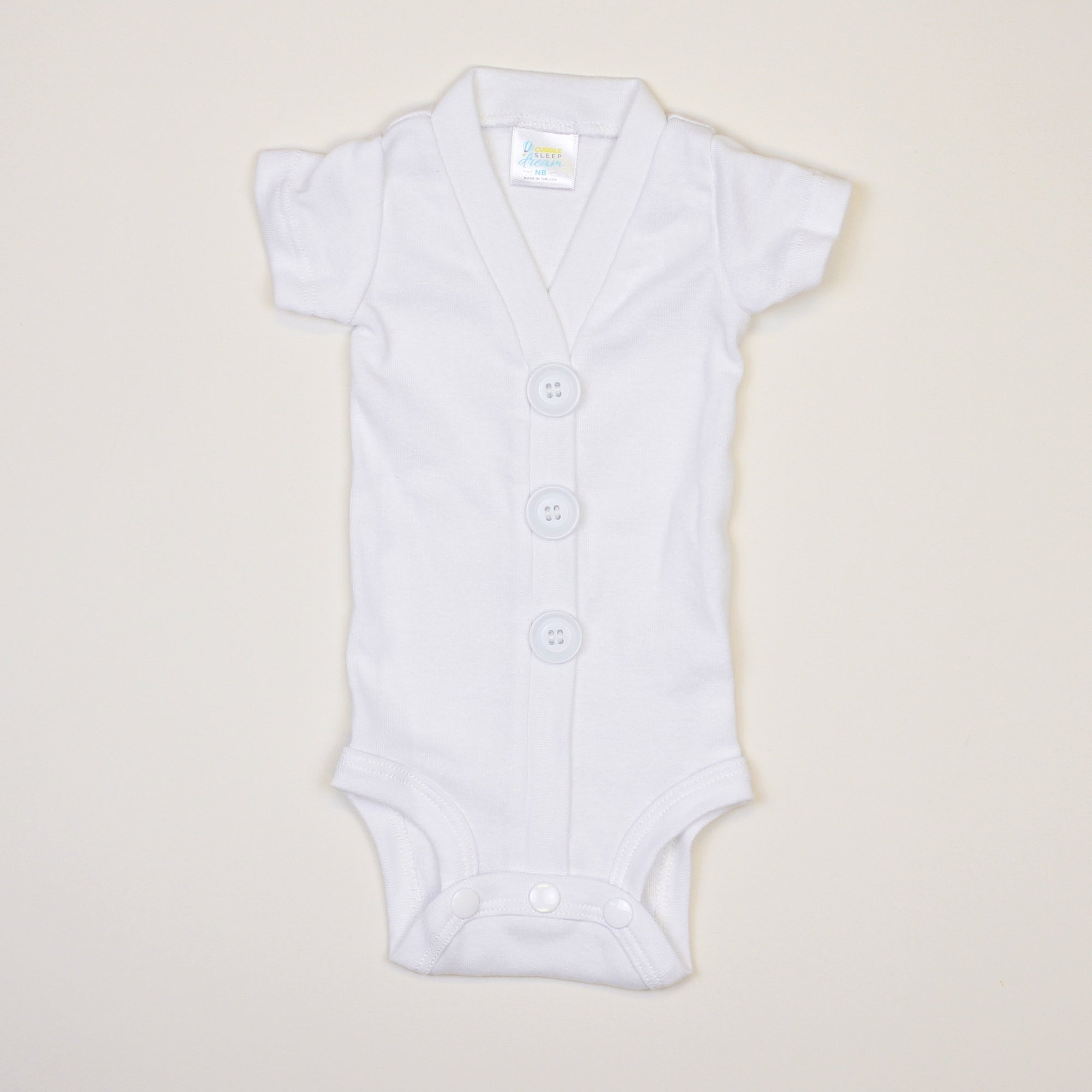 Cuddle Sleep Dream White Cardisuit | Short Sleeve