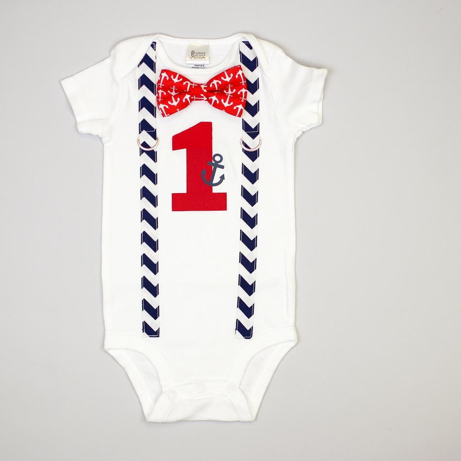 Cuddle Sleep Dream Oh Snap Nautical 1st Birthday Onesie