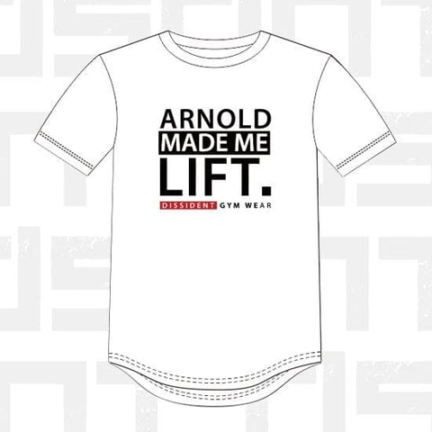 Performance Tee - Arnold Made Me Lift - White