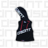 Ladies' Sleeveless Tune Out Hoodie Black - CROP