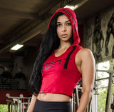 Ladies' Sleeveless Tune Out Hoodie Red - CROP
