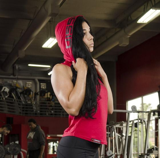 cbcd3d4b2c5f7b Ladies  Sleeveless Tune Out Hoodie Red - NEW