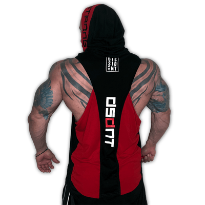 Dual Tone Tune DISSIDENT Out Hoodie - Red/Black