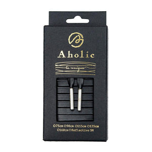 Aholic Venus Leather Shoelaces with Metal Tips (奢華皮革鞋帶) - Obsidian Black/Silver (曜石黑銀)-Shoelaces-Navy Selected Shop